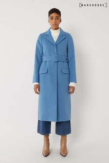 Dlouhý modrý kabát Warehouse s páskem