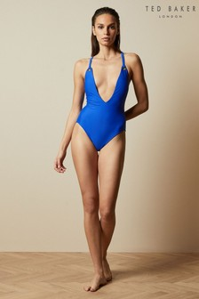 Ted Baker Blue Rachey Adjustable Back Plunge Swimsuit