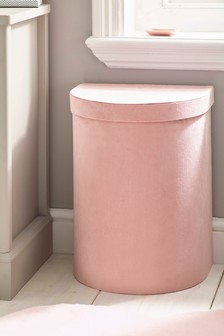Pink Velour Laundry Hamper