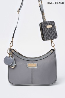 River Island Grey Double Scoop Pouchette