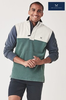 Crew Clothing Company Green Colourblock Padstow Sweatshirt