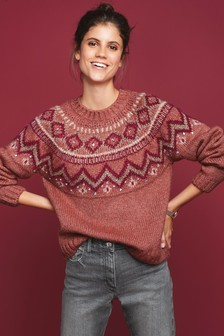 Embellished Fairisle Pattern Jumper