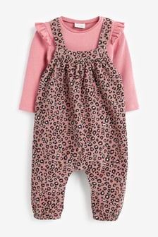 Leopard Print Cord Dunagree and Ribbed Bodysuit (0mths-3yrs)