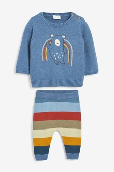 Rainbow Bear Knitted Jumper And Leggings Set (0mths-2yrs)