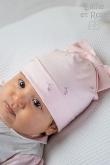 Emile et Rose Pink Rose Embroidered Hat With Bow
