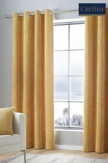 Curtina Ochre Cord Eyelet Curtains