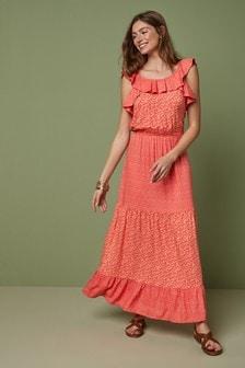 Платье макси с оборками