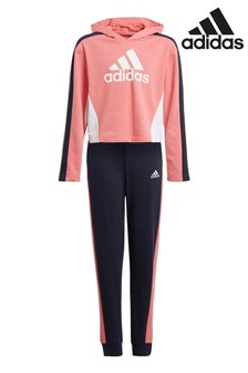 adidas Pink Crop Hoodie Tracksuit