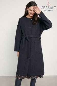 Seasalt Lysbeth Coat Blue Iron Melange