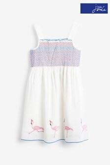 Joules Sundial Gesmoktes Kleid aus Webstoff, weiß
