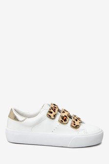 Leopard Print Touch Fastening Trainers (Older)
