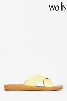 Wallis Simba Yellow Cross Strap Flexi Sliders