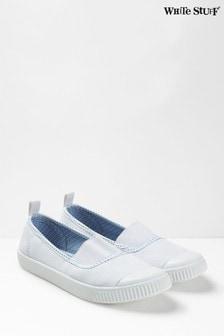 Pantofi din material elastic White Stuff Erin albi
