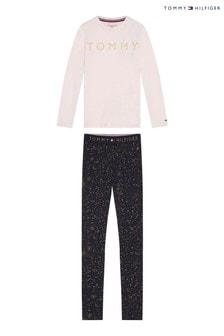 Ružová trblietavá pyžamová súprava Tommy Hilfiger