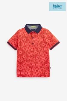 Baker by Ted Baker Boys Red Geometric Poloshirt