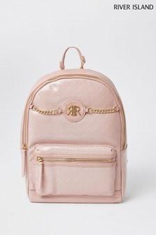 River Island Pink Light Patent Monogram BTS Backpack