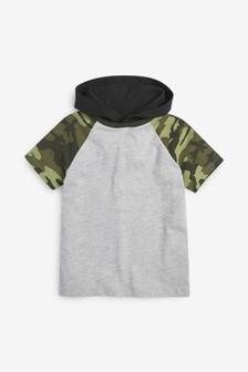 Tričko s krátkymi raglánovými rukávmi a kapucňou (3 – 16 rok.)
