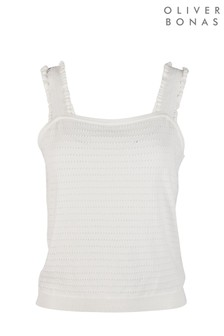Oliver Bonas Frill Strap White Knitted Top