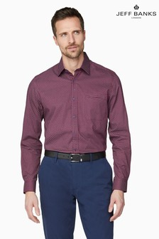 Jeff Banks Red Geometric Print Tailored Fit Casual Shirt