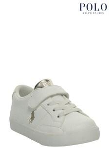 حذاء رياضي أبيض وذهبي ميتاليك من Ralph Lauren