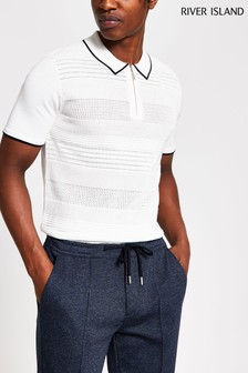 River Island Ecru Textured Zip Neck Knit Poloshirt