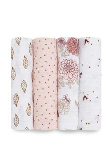 aden + anais White Swaddles Four Pack
