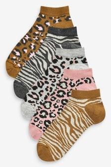 Набор из пяти пар спортивных носков со звериным принтом