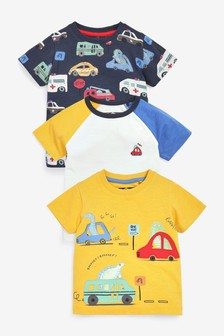 3 Pack Transport T-Shirts (3mths-7yrs)