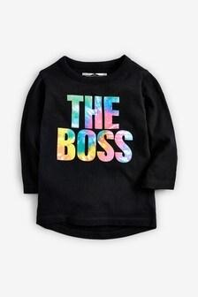 Tričko s dlhými rukávmi a farebným nápisom The Boss (3 mes. – 7 rok.)