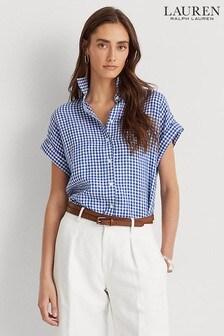חולצה ללא שרוול מפשתן של Lauren Ralph Lauren® דגם Broono בכחול