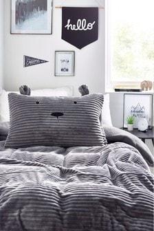 Серый ультрамягкий флисовый комплект из пододеяльника и наволочки