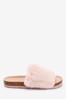 Cork Faux Fur Slider Slippers