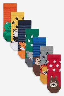 Набор из 7 пар хлопковых носков с рисунком животных (Младшего возраста)