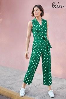 Boden綠色Evie領口連身褲