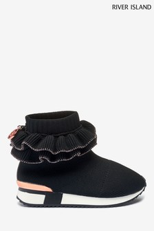 River Island Black Ruffle Knit Sock Hgh Top Shoes