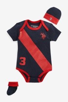 Conjunto para bebé de body, patucos y gorro con jugadores de U.S. Polo Assn.