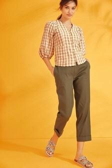 Зауженные брюки из хлопковой саржи