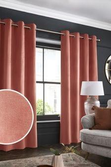 Terracotta Orange Matte Velvet Eyelet Lined Curtains