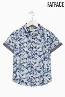 FatFace Hemd mit Palmen-Aufdruck, blau
