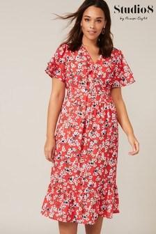 Studio 8 Red Claudette Ditsy Floral Dress