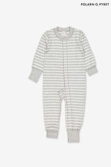 Polarn O. Pyret Gestreifter Schlafanzug aus GOTS-zertifizierter Bio-Baumwolle, Grau