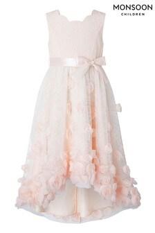 שמלת תחרה באורך גבוה נמוך 3D שלMonsoon דגםEmily בצבע אפרסק