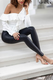 SPANX® Medium Control Black Faux Leather Structured Leggings