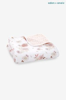 aden + anais White/Pink Floral Dream Blanket