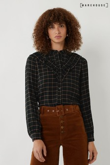 Warehouse Black Carmen Check Ruffle Shirt