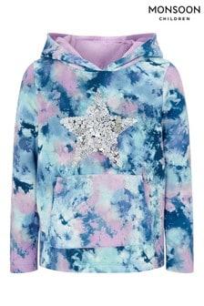 Monsoon Blue Tie Dye Print Sequin Star Hoodie