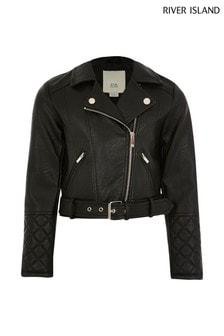 River Island Black Belted Biker Jacket