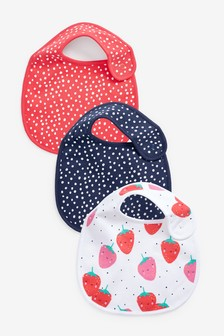 3 Pack Strawberry Regular Bibs