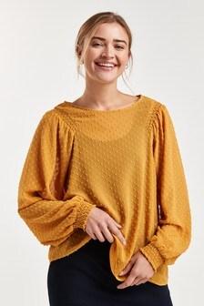 Блузка с длинными рукавами, отделкой филькупе и сборками на плечах