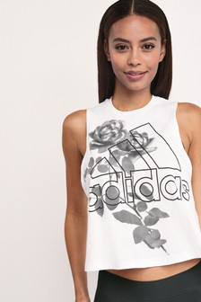 adidas Badge Of SportTrägertop mit Blumenmotiv, Weiß